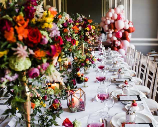 Luxurious wedding table styling with colourful flowers and balloons by Yorkshire's Luxe by Minihaha & Co.