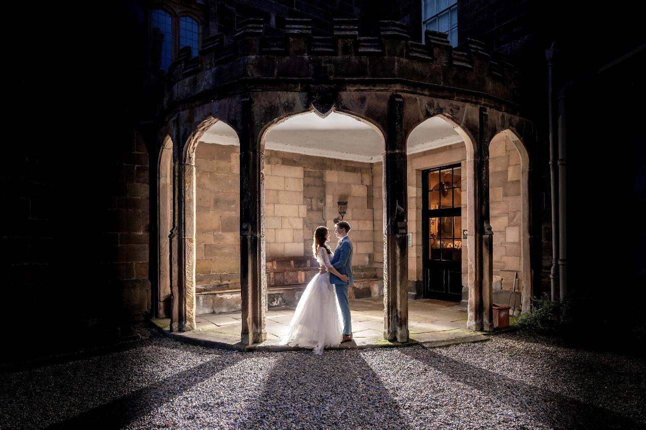 Bride's dress glowing