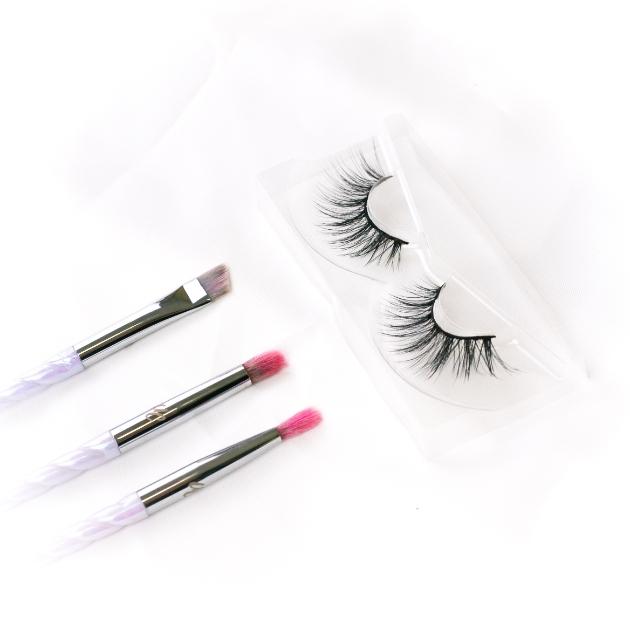 makeup brushes and false lashes